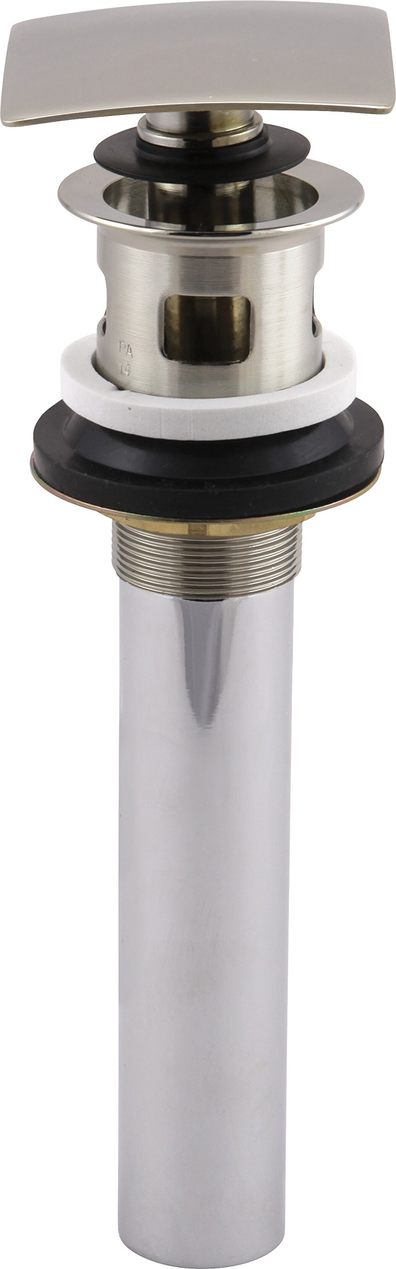Delta 72175-PN Square Push Pop-Up Bathroom Sink Drain with Overflow, Polished Nickel