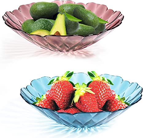 Amazon Com Snack Candy Bowl Salad Serving Dish Plastic Ganamoda Modern Fruit Vegetable Bowls For Home Kitchen Wedding Xmas Party Centerpiece Bowls 1 Ruby Red 1 Sapphire Blue Salad Bowls