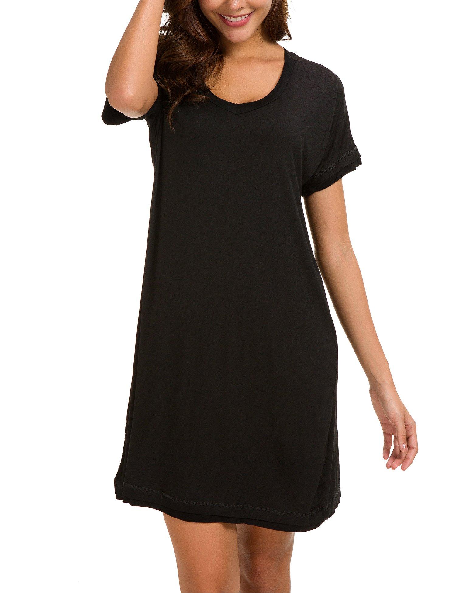 Dolay Women's Sleepwear Cotton Sleep Tee Short Sleeves Knit Sleepshirt (Black, XL) by Dolay (Image #3)