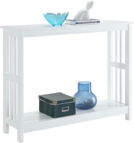 White Finish 2-Tier Occasional Console Sofa Table Bookshelf