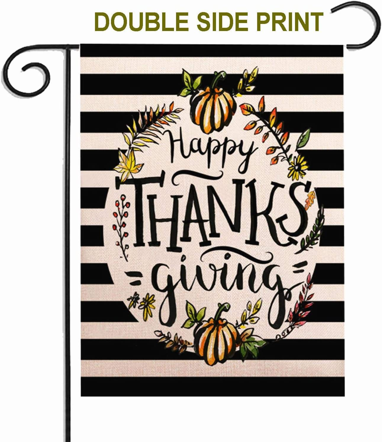 ZUEXT Happy Thanksgiving Fall Pumpkin Garden Flag Vertical Double Sided,Sewn Black and White Stripes Cotton Linen,Autumn Harvest Farmhouse Outdoor Yard Porch Patio Farm House Decoration 12.5 x 18 Inch