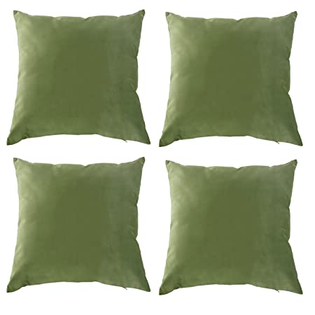 Deconovo Set Of 40 Crushed Velvet Cushion Covers Home Decorative Cool Dark Green Decorative Pillows