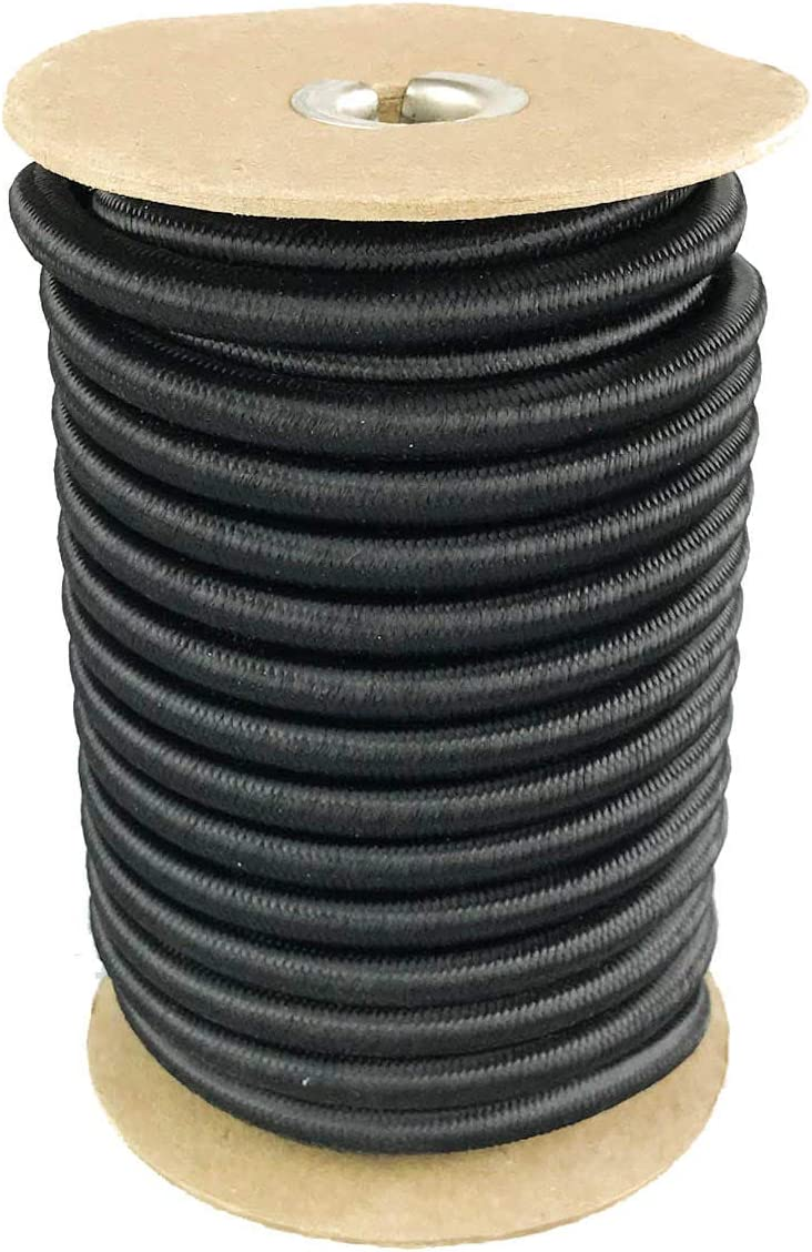 DIY Projects 3//8 5//16 Crafting Elastic Bungee Cord Used for Tie Downs 1//4 1//8 3//16 Made in the USA 50 and 100 Foot Spools Weather and Abrasion Resistant Black Shock Cord