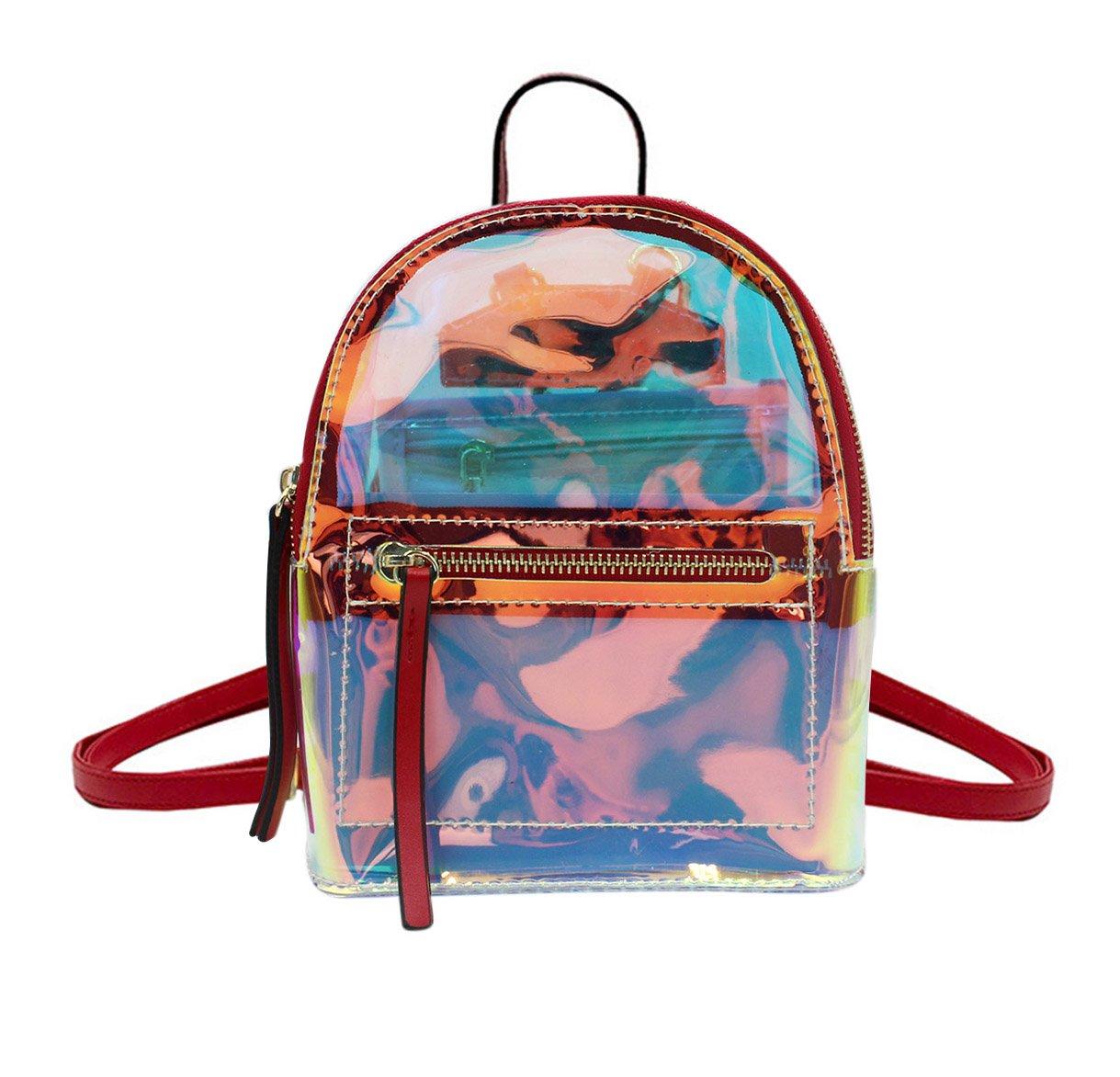 Women Glitter Holographic Backpack Schoolbag Transparet Rainbow Crossbody Shoulder Bag Daypack