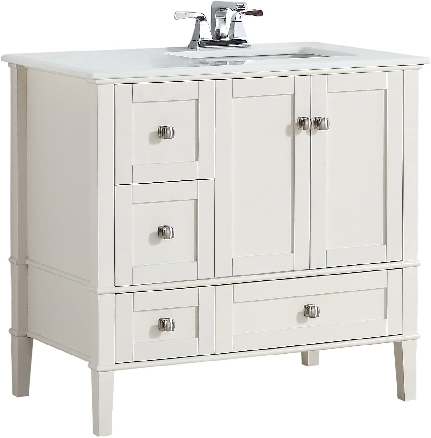 Simpli Home Chelsea 36 Right Offset Bath Vanity With White Quartz Marble Top Soft White Nl Hhv029 36 2a R Amazon Ca Tools Home Improvement