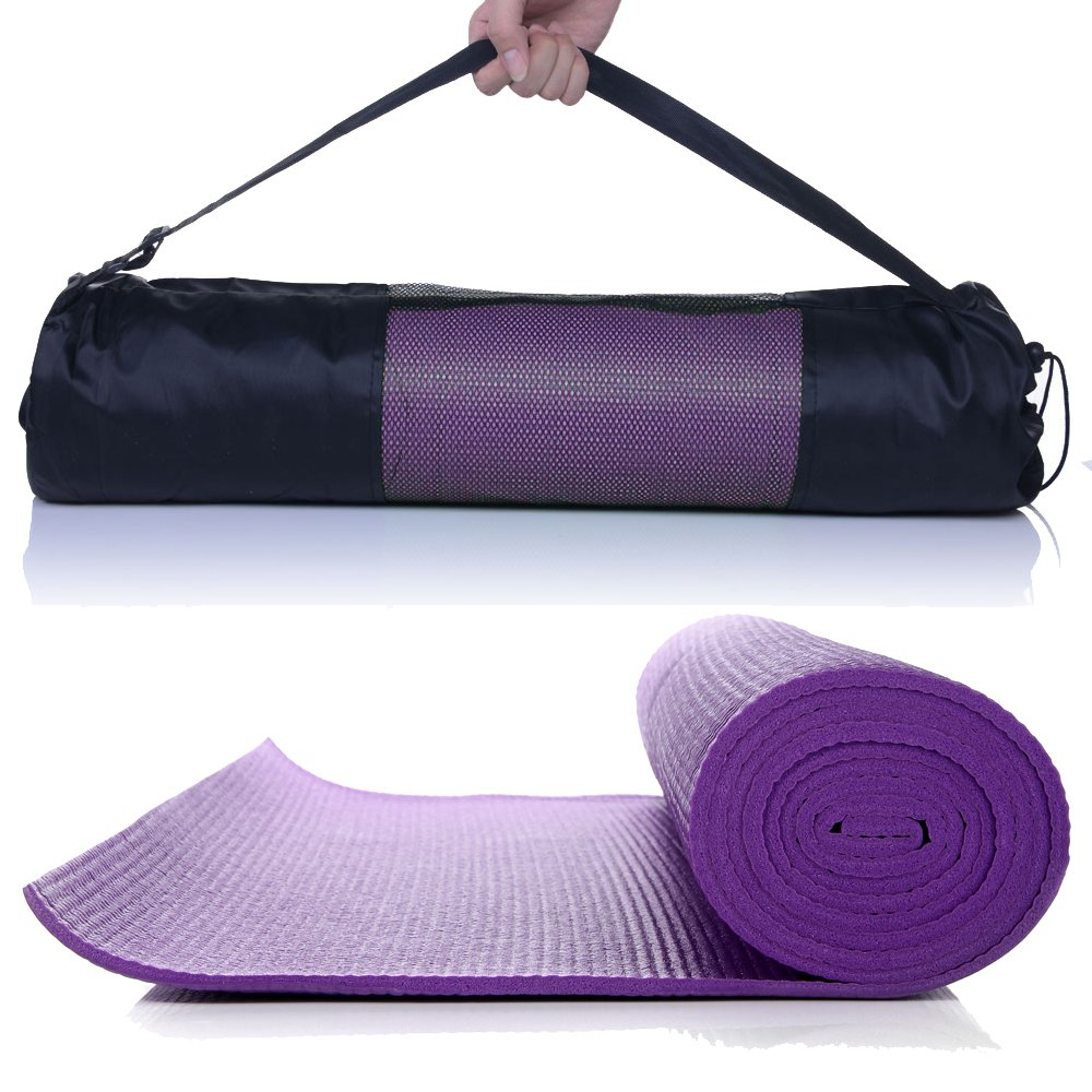 MASIONE Yoga Mat Thick Exercise Mat Yoga Pad Yoga Mats Bag Set Non-Slip Camping Pad 68'' x 24'' 6mm 1/4-Inch Thick Pilates Mat Floor Mat Camping Mat For Fitness ( Purple ) by Masione (Image #7)
