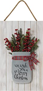 18-Inch Rustic We Wish You a Merry Christmas Sign with Berry and Greenery Floral in Bucket – Country Holiday Wall Art Decoration – Farmhouse Winter Home Decor Accent