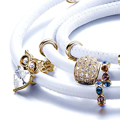 471b8207c81 Pulsera Cuero Blanca Perlas y Charms cristales Swarovski Elements - CRY  E190 J Blanc Doré - Blue Pearls  Amazon.es  Joyería