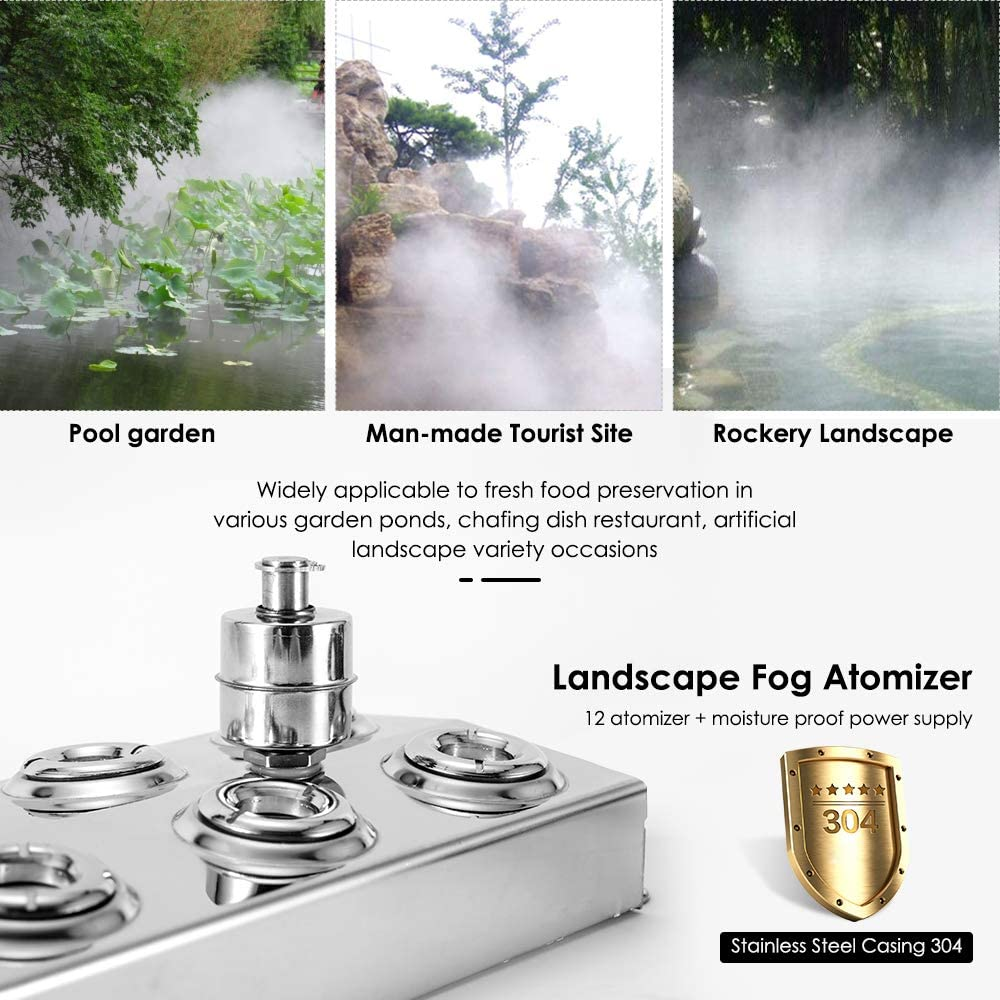 TOPQSC Mist Maker Fogger Humidifier for Gardening and Pond Use,12 Head Stainless Steel Ultrasonic Mist Humidifier