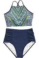 Cupshe Fashion Women's Printing Criss Cross Tie Back High Waisted Bikini Set Beach Swimwear Bathing Suit