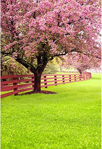 Spring Scenic Background 6x8ft Pink Blooming Flowers Polyester Photography Backdrop Wooden Fence Meadow Grassland Garden Park Cherry Rustic Wedding Personal Portraits Shoot Decor Studio