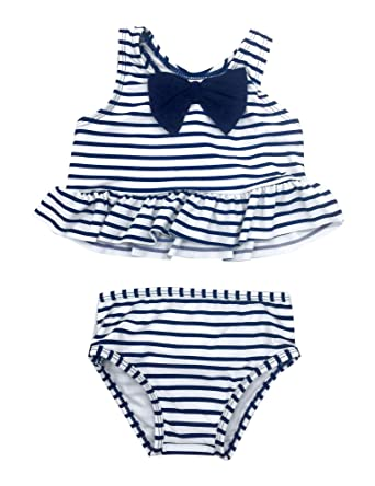 9efab782178 Amazon.com: luvamia Baby Toddler Girls Two Piece Swimsuit Striped Ruffle  Tankini with Bow 6M-2Y: Clothing
