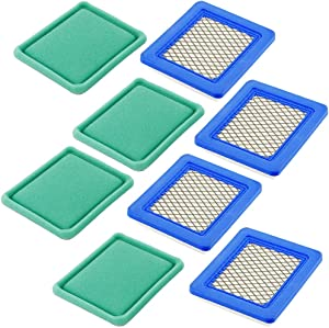 491588S Air Filter + Pre Filter for Briggs & Stratton 399959 491588 493537 625e 675ex 725ex, Craftsman 33644, Toro 20332, Push Lawn Mower Tractor Air Cleaner (Pack of 4)