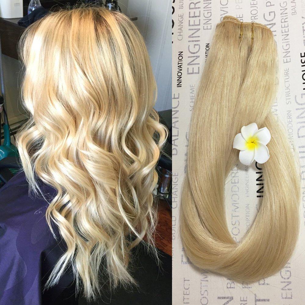 Amazon Myfashionhair Clip In Hair Extensions Human Hair Blonde
