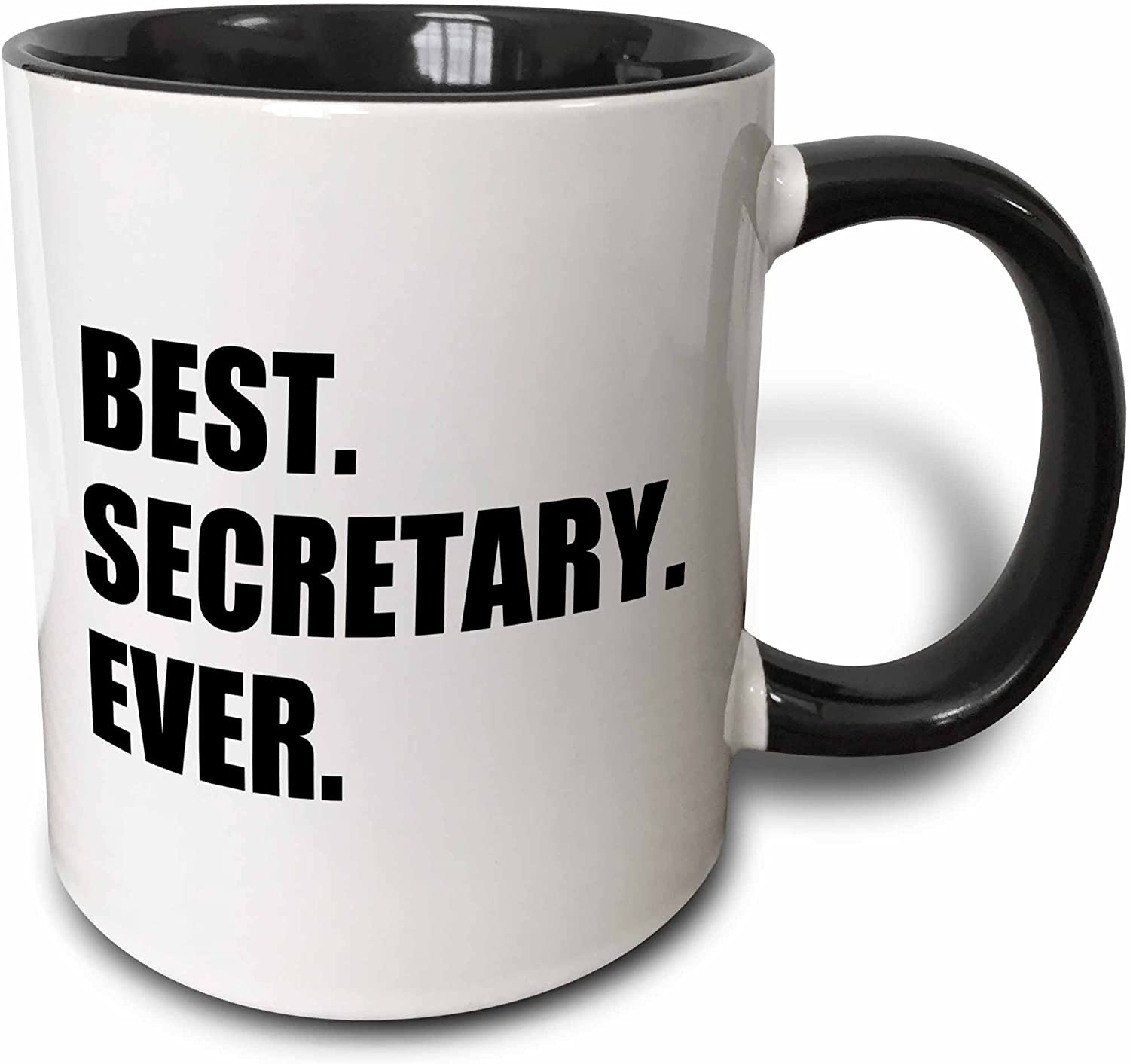 3dRose 185020_4 Best Ever Fun Gift For Talented Secretaries Black Text Two Tone Mug, 11 oz