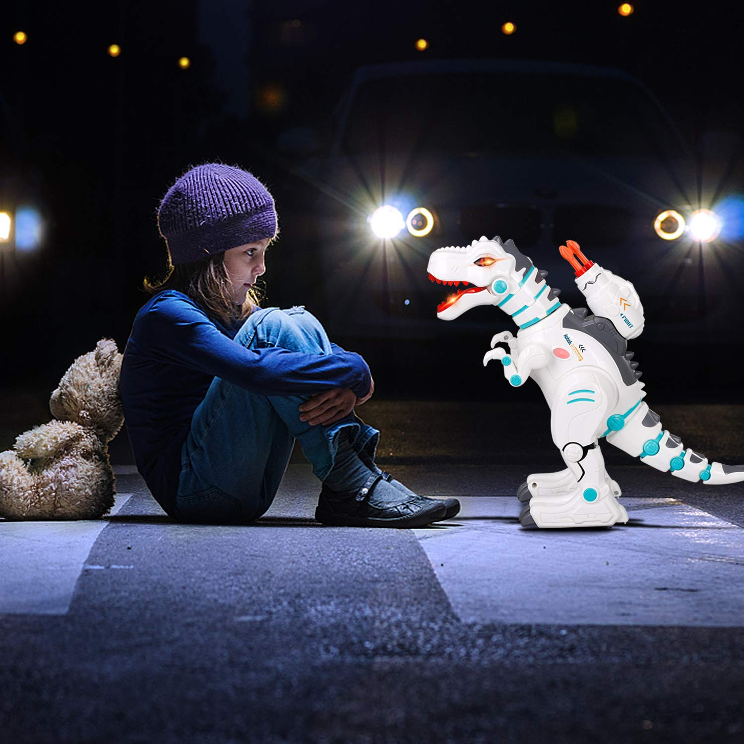 JIEQI Remote Control Dinosaur Robot for Kids,Intelligent Robot Toys Sings Dances Sprays Mist Launches Missiles Walking Fight Models Electronic RC Robot Toys for Boys Girls Gift by JIEQI (Image #3)