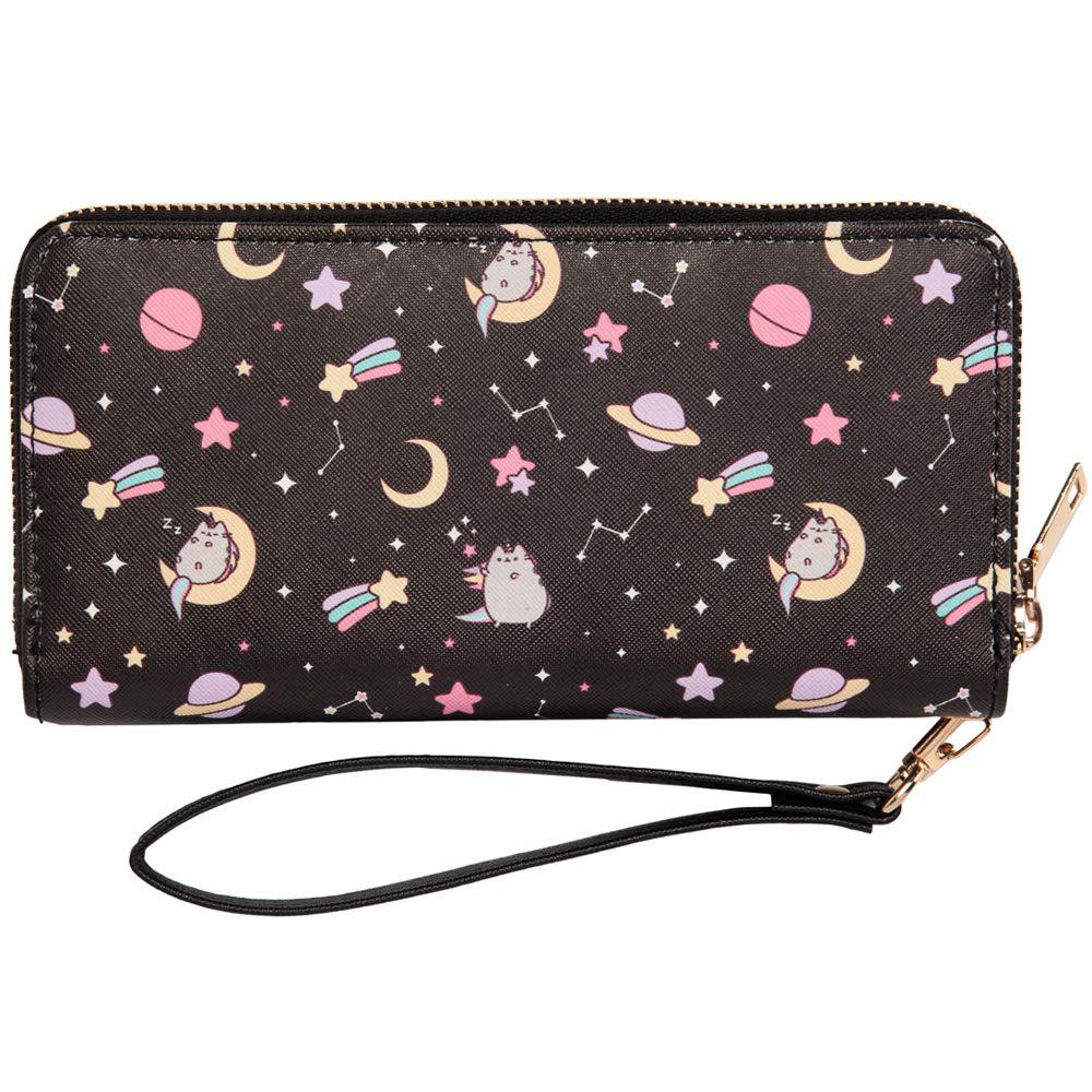Pusheen The Cat Pusheenicorn Constellation Stars Zippered Wristlet Wallet Grey One Size