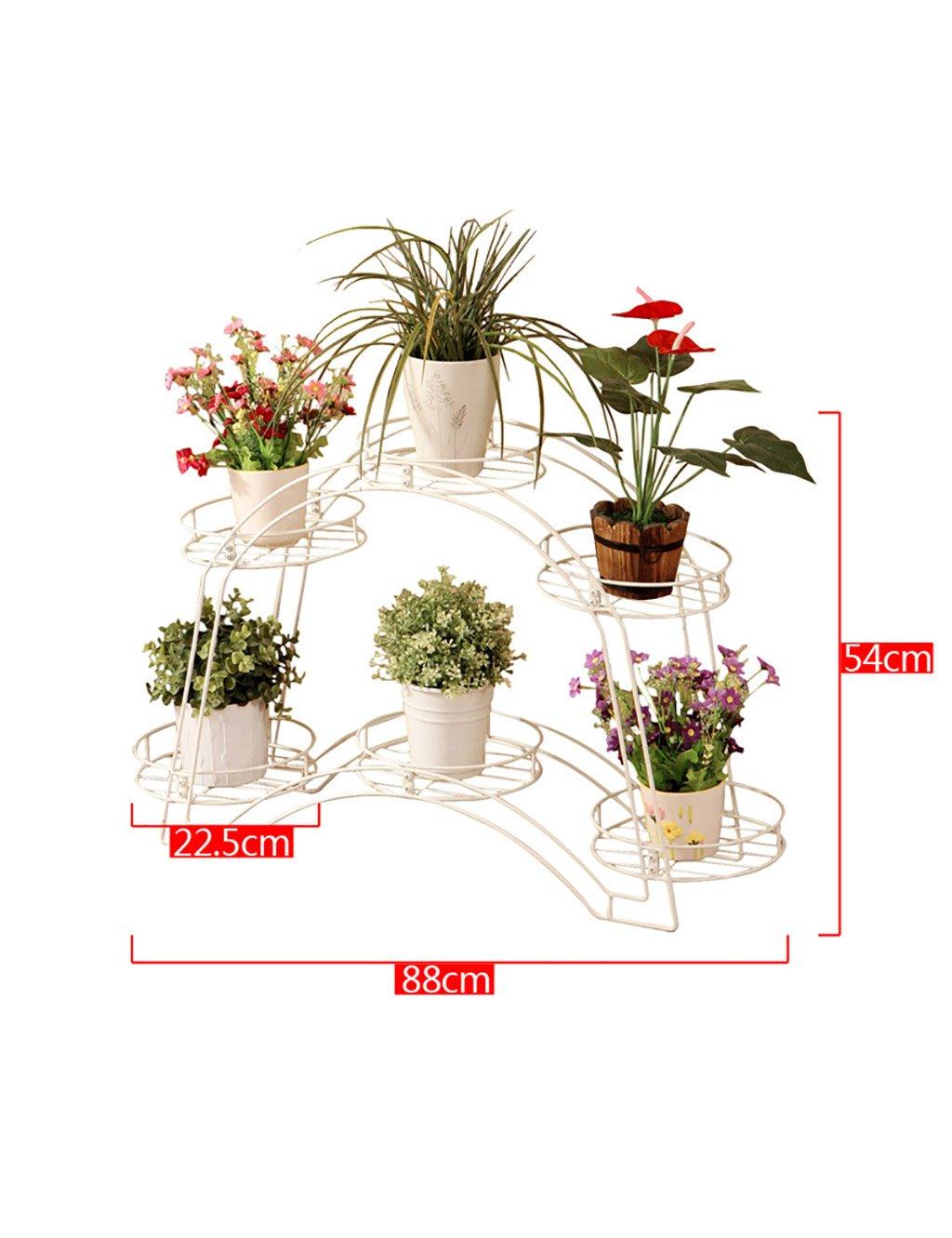 Europäische Art-Eisen-gewölbte mehrschichtige Blumen-Zahnstange-Versammlung Blumen-Zahnstange-Fußboden-Pflanzer-Regal Einfache und moderne Balkon-Wohnzimmer-Innenblumen-Zahnstange