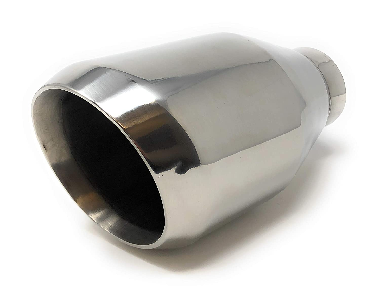 2.5 Inlet Bolt-on Oval Outlet Exhaust Tip Stainless Steel Slant Cut Tailpipe
