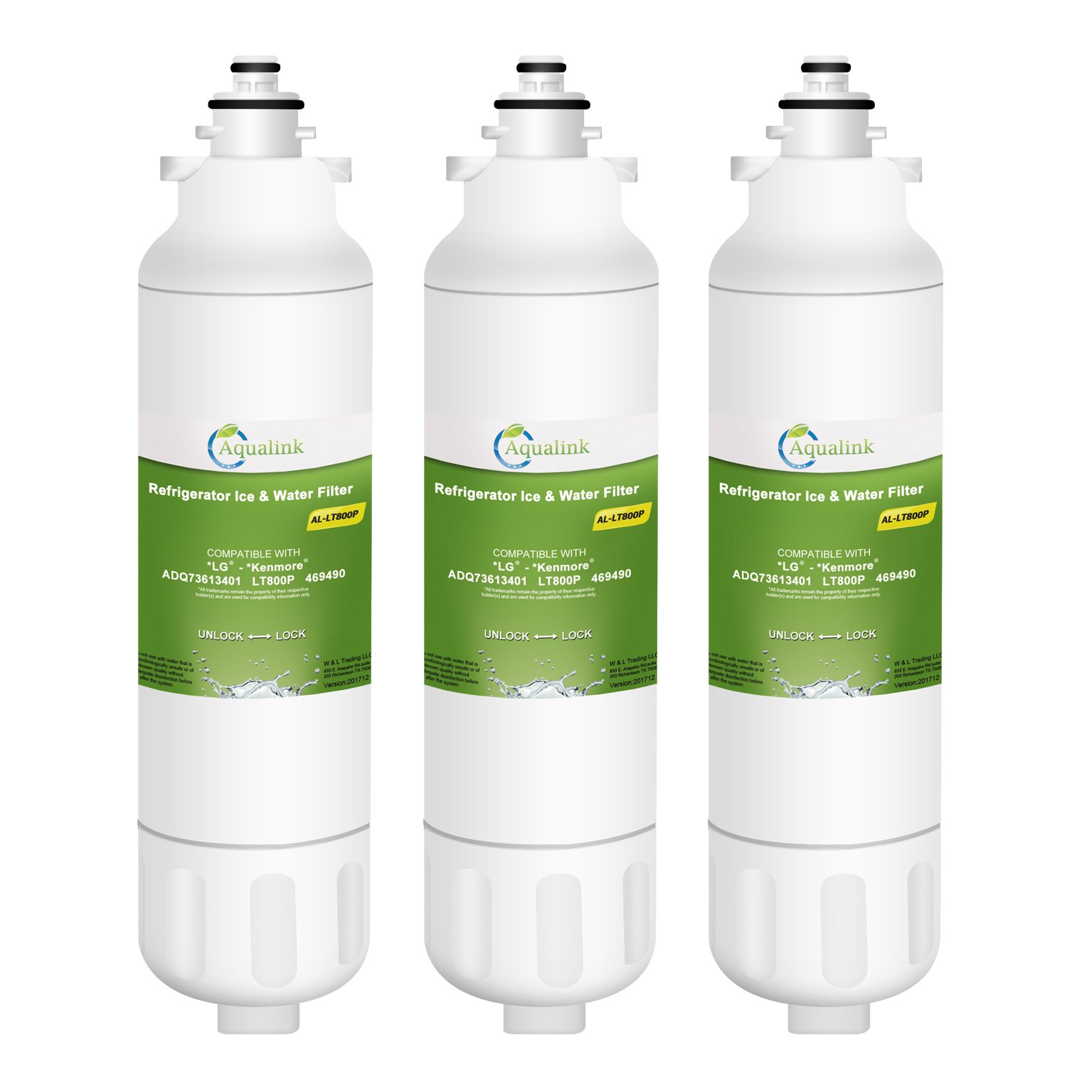AQUALINK LT800P Refrigerator Water Filter Replacement for LG LT800P,ADQ73613401,ADQ73613402,LT800PC,Kenmore 9490 3 Pack