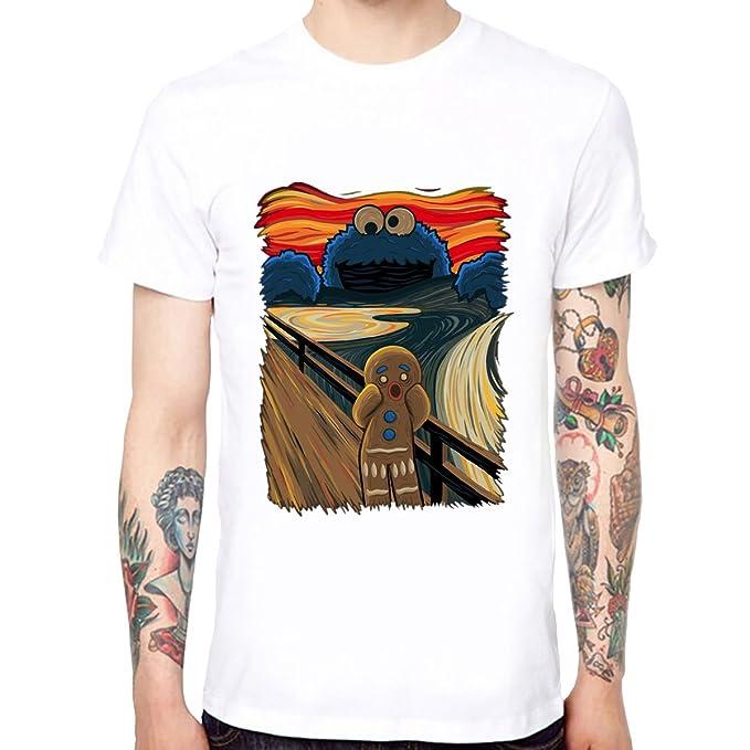 Yingyan Skrik Cookie Monster Algodón de Los Hombres Camisetas Divertidas Divertidas Camisetas de Manga Corta Tee: Amazon.es: Ropa y accesorios