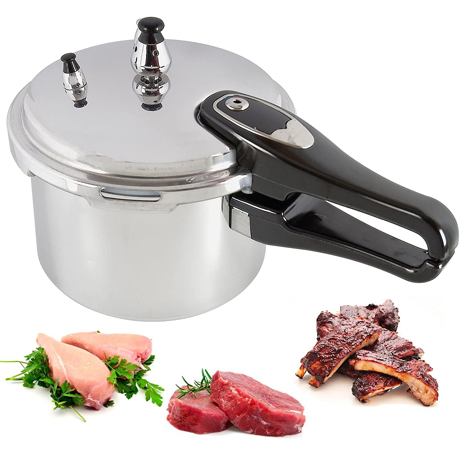 3l Litre Cooking Pressure Cooker Lightweight Durable Aluminium Kitchen Home Cookware Catering Heat Resistant Handles ASAB