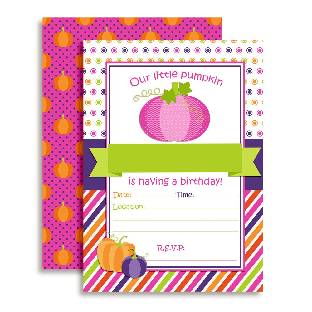 Pumpkin Girl Birthday Party Invitations 20 5x7 Fill in Cards Twenty White Envelopes AmandaCreation