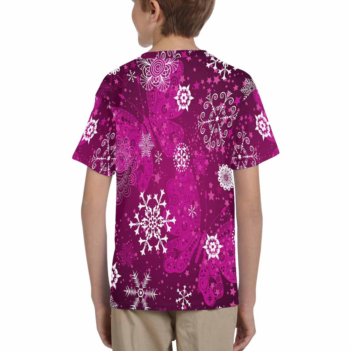 XS-XL INTERESTPRINT Youth T-Shirts Purple Gradient Pattern with Snowflakes and Vintage Pink Butterflies