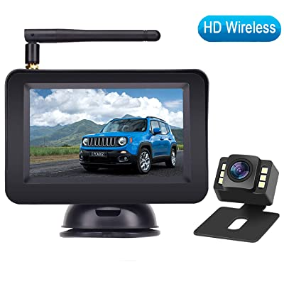 "Rohent HD Color Wireless Backup Camera and 4.3"" Monitor System For Cars/SUVs/MiniVans the latest LED Night Vision IP69 Waterproof Rear/Front View Camera Guide Lines On/Off Reversing Use : Camera & Photo"