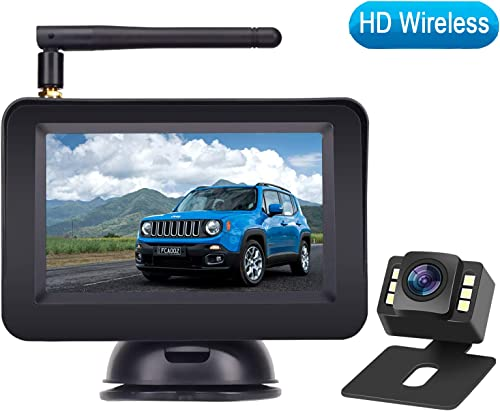 Rohent HD Color Wireless Backup Camera and 4.3 Monitor System For Cars SUVs MiniVans the latest LED Night Vision IP69 Waterproof Rear Front View Camera Guide Lines On Off Reversing Use