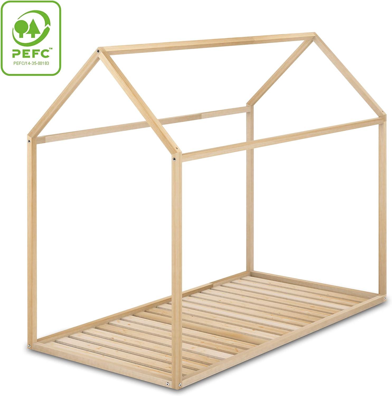 Cama Infantil Tipo Montessori, Casita Madera Natural para niño y niña, 90 x 190 cm