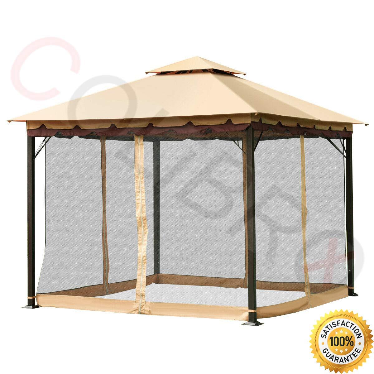 COLIBROX-TM 2-Tier 10'x10′ Gazebo Canopy Tent Shelter Awning Steel Patio Garden Outdoor Event Pavilion Garden Lawn Backyard Camping Tent Elegant Design