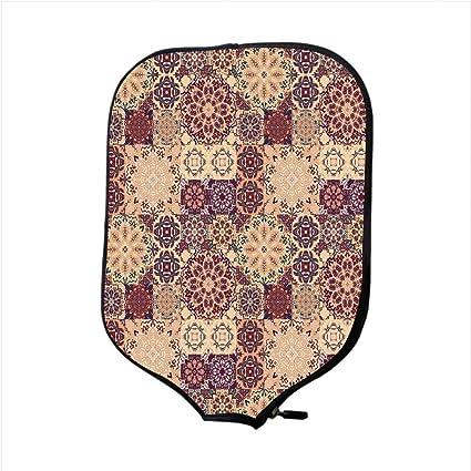 Neoprene Pickleball Paddle Racket Cover Case,Moroccan,Grid Style Ornate Ceramic Style Tile Orient