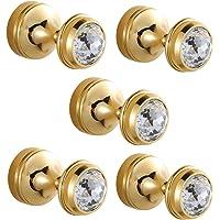 CASEWIND Garderobehaken goud, kledinghaken wandmontage, handdoekhouder messing set van 5 kristallen met boren voor…