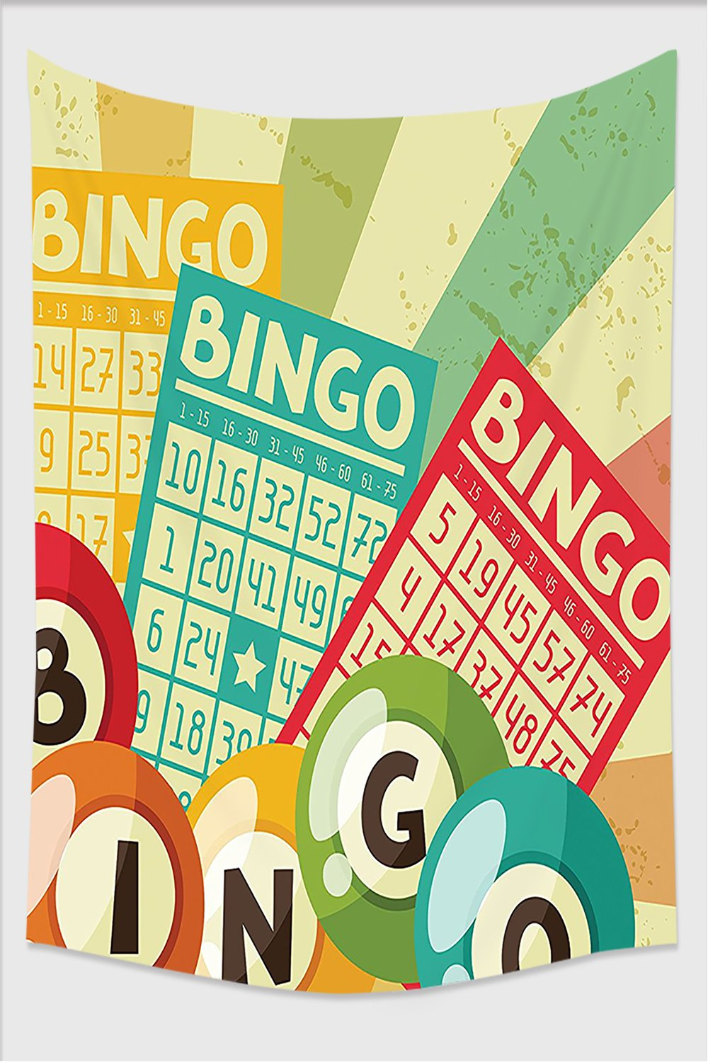 Nalahome-Vintage Decor Bingo Game with Ball and Cards Pop Art Stylized Lottery Hobby Celebration Theme Multi Tapestry Wall Hanging Wall Tapestries 59L x 51.1W Inches