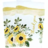 BIOBROWN Poly Mailer Flower Print Thank You Design for Shipping-6x9inch-100pcs,Yellow