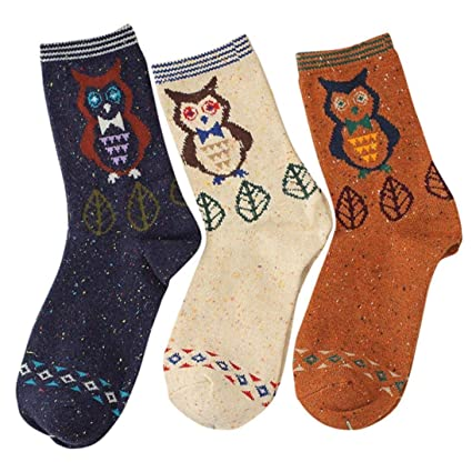 LILICAT Calcetines de Algodón de Mujeres-3 Pares, Calcetines Casuales de Diseño de Dibujos