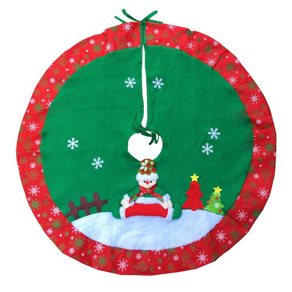 COMVIP Christmas Tree Skirt Cover Santa Claus Snowman Xmas Tree Decor Red