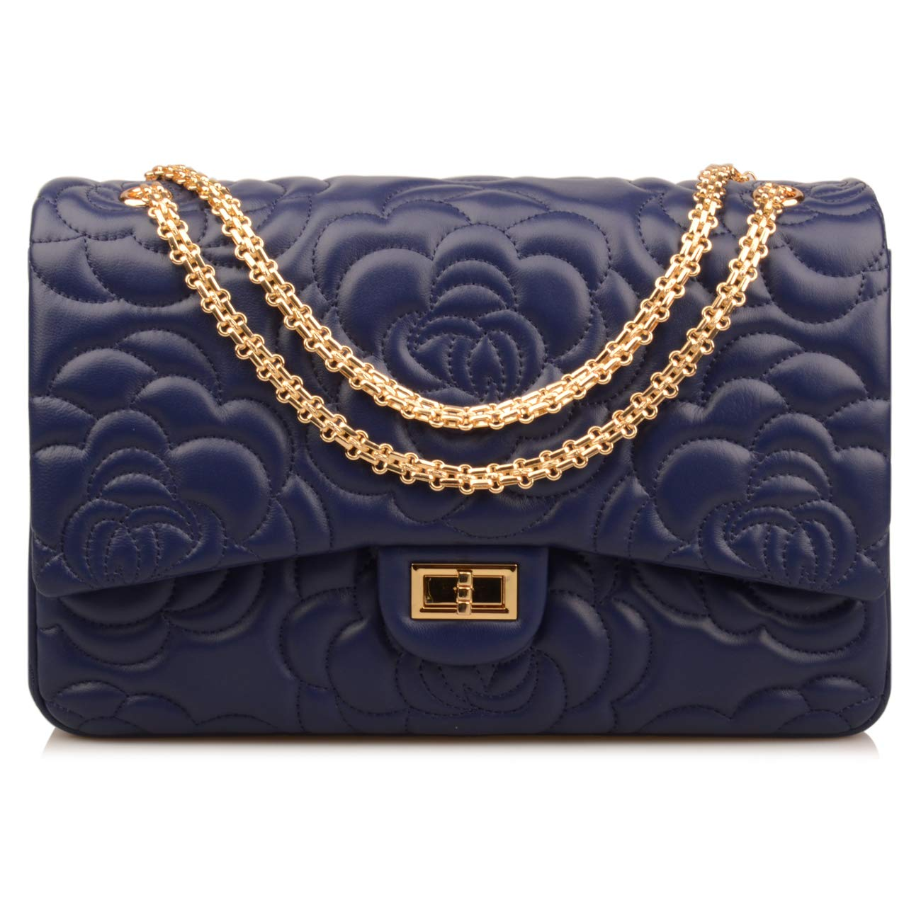 Ainifeel Women's Quilted Oversize Genuine Leather Shoulder Handbag Hobo Bag Purse (X-Large, Flower (dark blue with gold hardware)