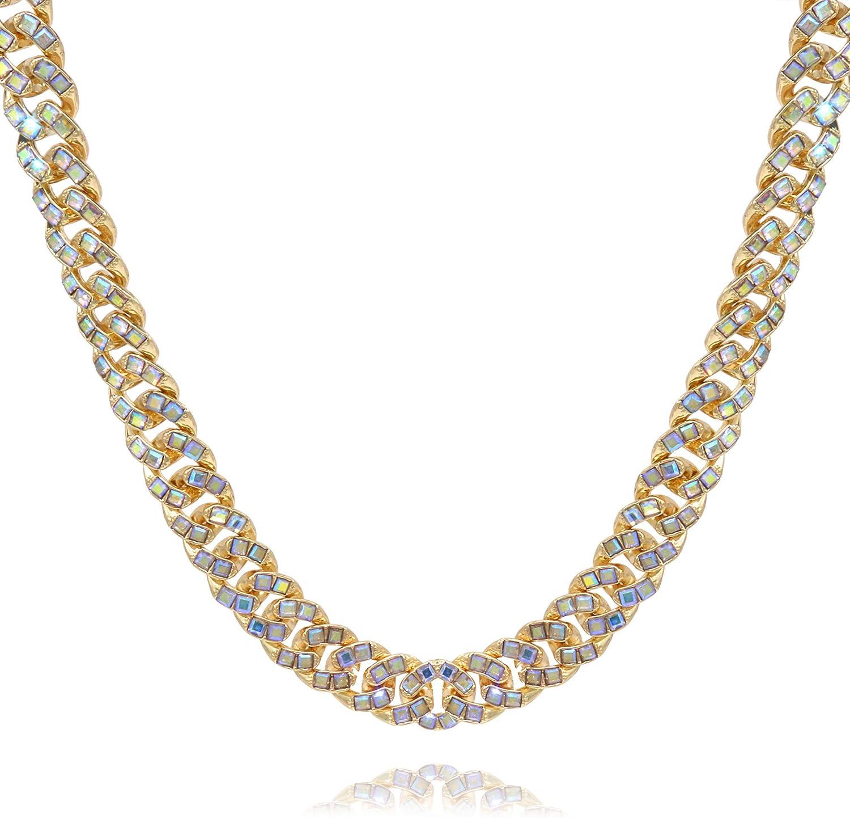 Women's Chunky Cyan AB Bead Choker Necklace