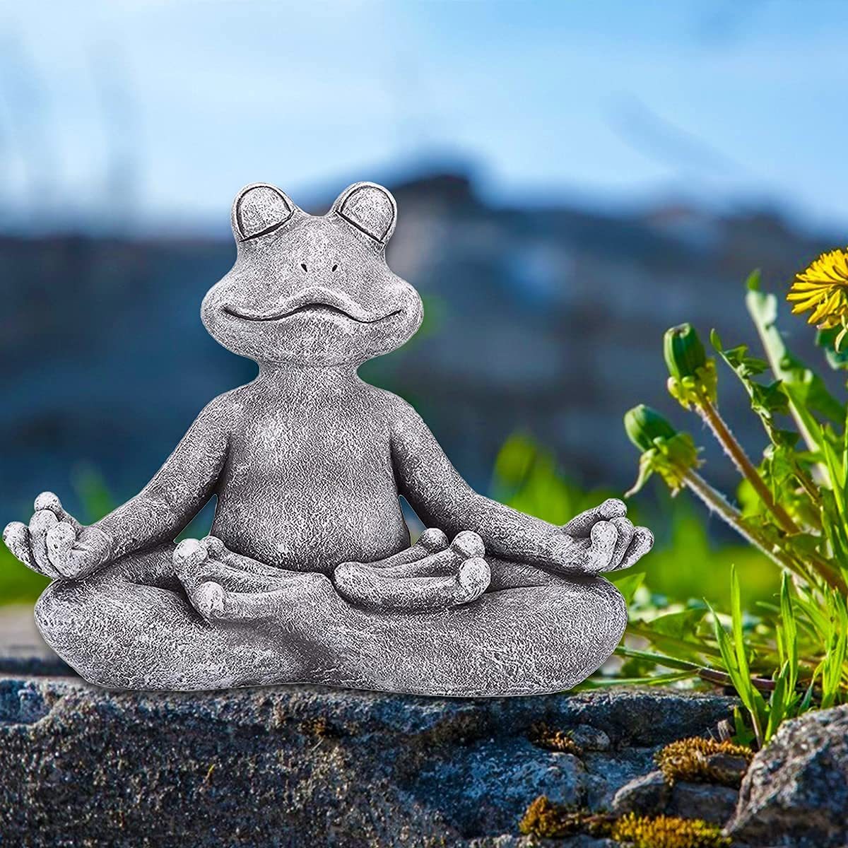 Meditating Zen Frog Statue, Zen Garden Yoga Frog Figurine-Resin Zen Animal Statue for Indoor Outdoor Home Art Statue Ornament Office Park, 129.57.5cm