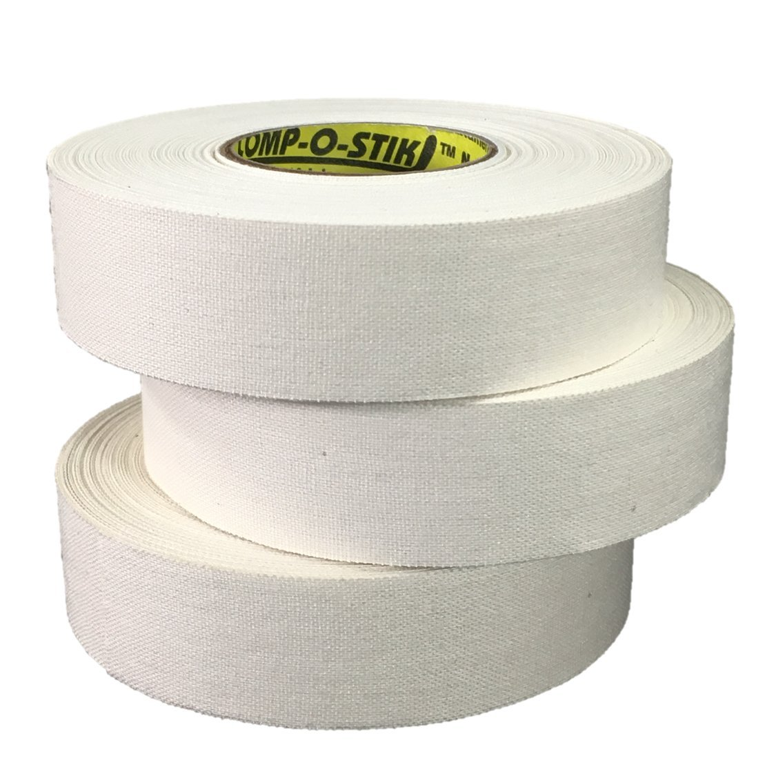 3 Rolls of Comp-O-Stik WHITE Hockey Lacrosse Bat Cloth Stick Tape ATHLETIC TAPE (3 Pack) Made In The U.S.A. 1'' X 25 yds