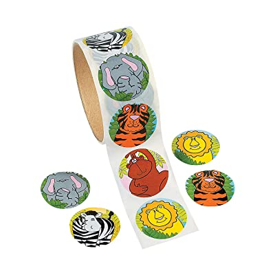 """Zoo Animal Stickers (Roll of 100) – 1.5"""" Round, 6 Cool Designs - Great for Kids, Teachers, Party Favors, Rewards, Craft Projects, Water Bottles, Scrapbooks, Calendars, Planners, and Journals: Toys & Games"""