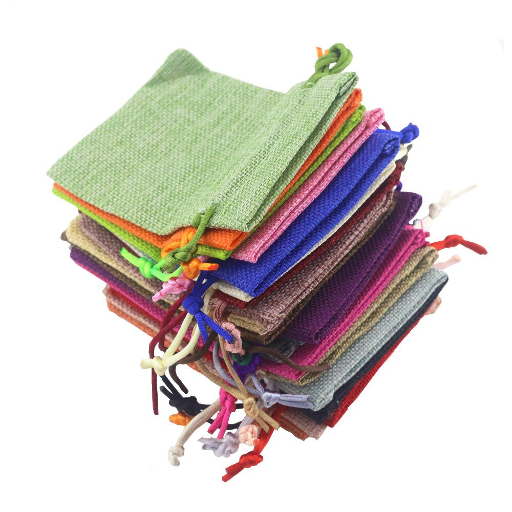 Fyess 20 PCS Christmas Party Bags Burlap Bags with Drawstring Gift Bags for Wedding Party,Arts & Crafts Projects, Presents, Snacks & Jewelry,Christmas Natural Muslin Drawstring Bags 100% Cotton Wove by Fyess (Image #4)