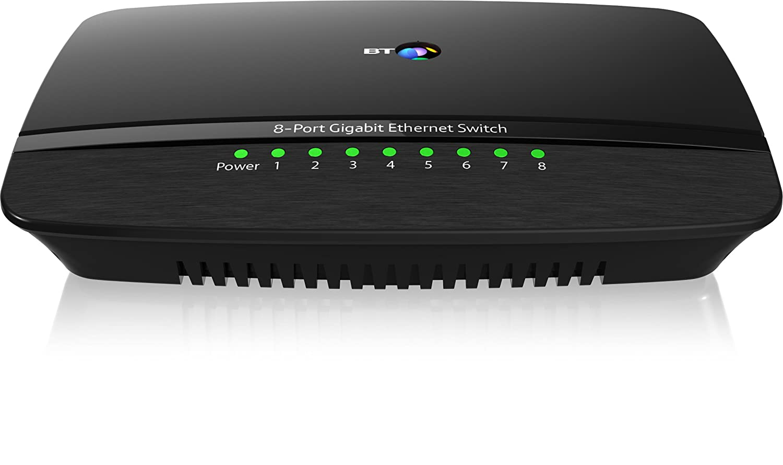 BT 8-Port Gigabit Ethernet Switch, Black: Amazon.co.uk: Computers ...