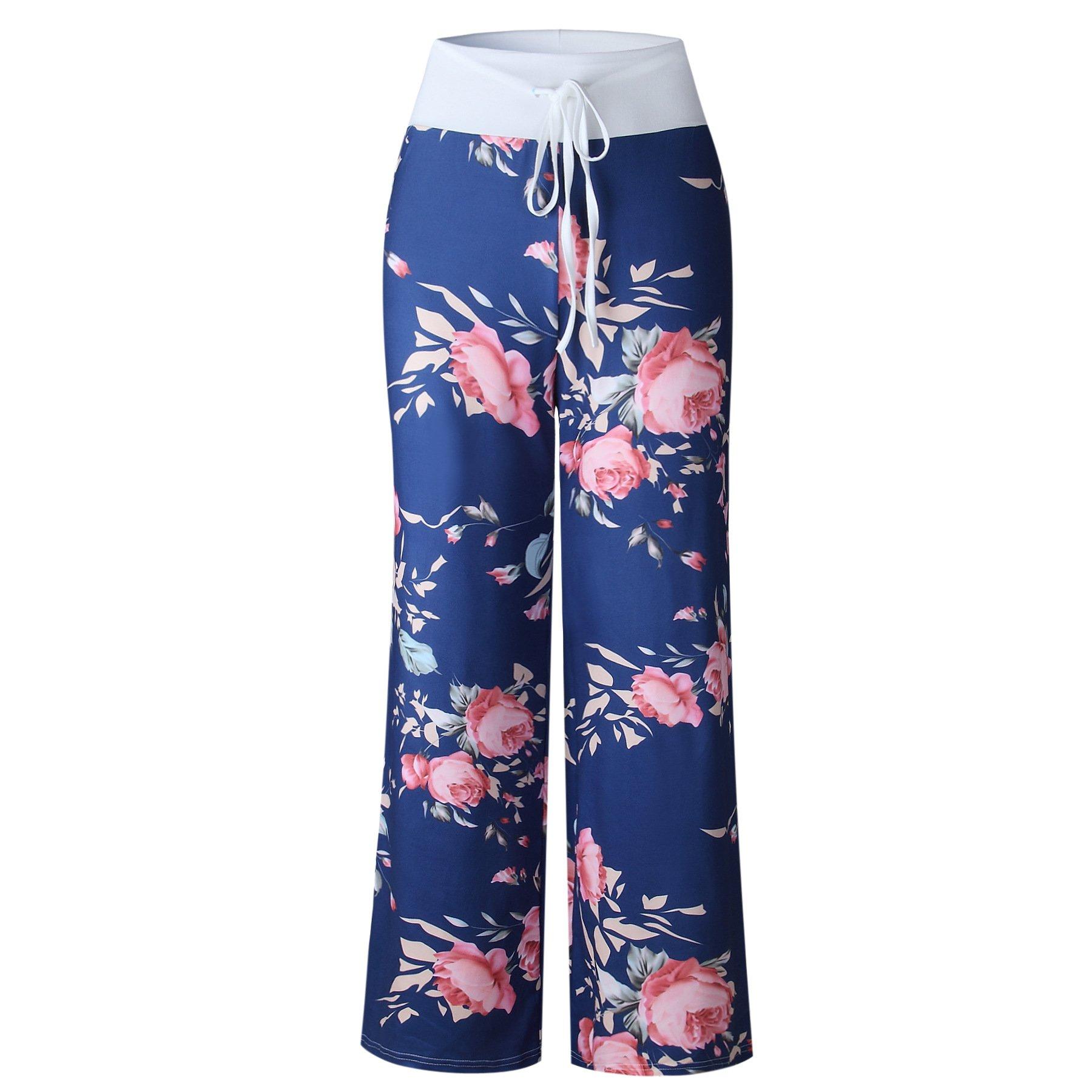 iChunhua Women's Comfy Stretch Floral Print Drawstring Palazzo Wide Leg Lounge Pants(M,Blue) by iChunhua (Image #3)
