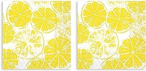 Boston International Lemon Slice Sunshine Yellow 7 x 7 Paper Disposable Lunch Napkins 2 Packs of 20