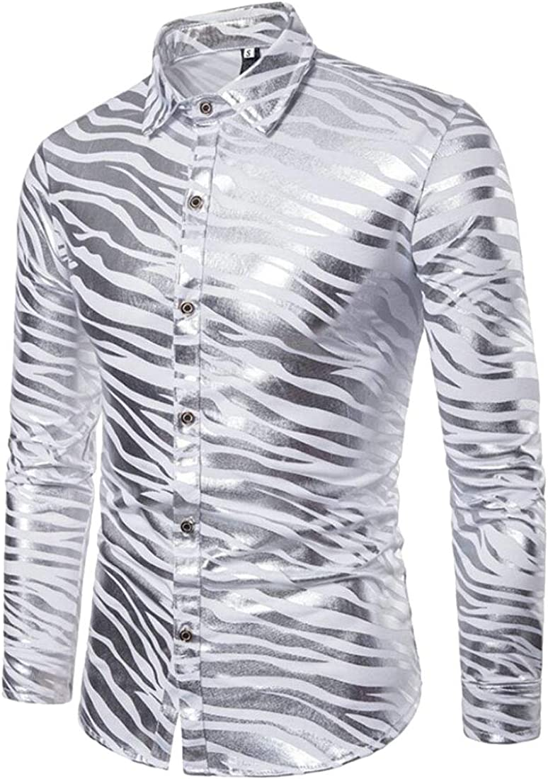 Fllay Mens Slim Fit Zebra Striped Metallic Lapel Button Down Shirts