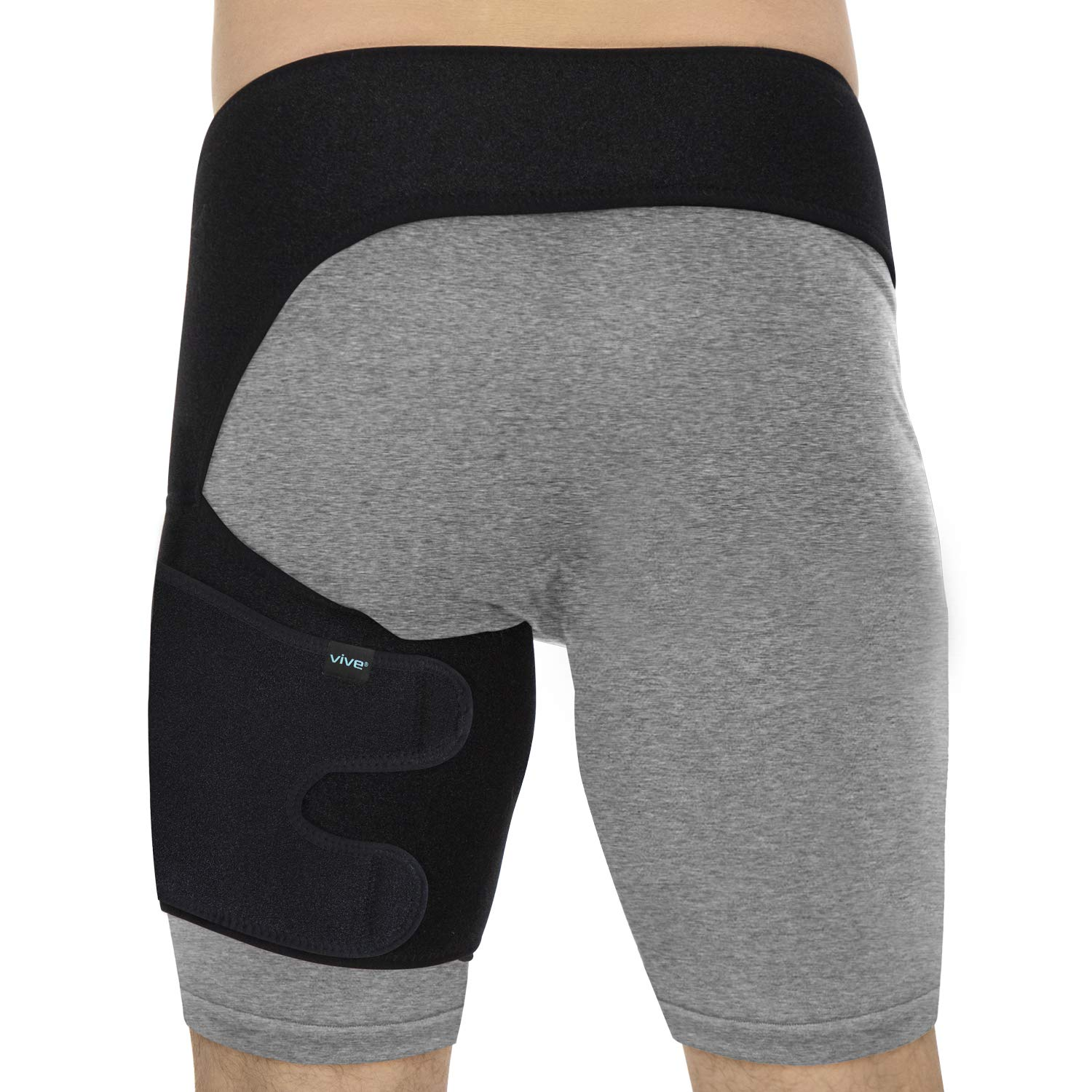 Vive Groin & Hip Brace - Sciatica Wrap for Men & Women - Compression Support for Nerve Pain Relief - Thigh, Hamstring Recovery for Joints, Flexor Strains, Pulled Muscles, Quadricep PT (Waist: 48''-58'')
