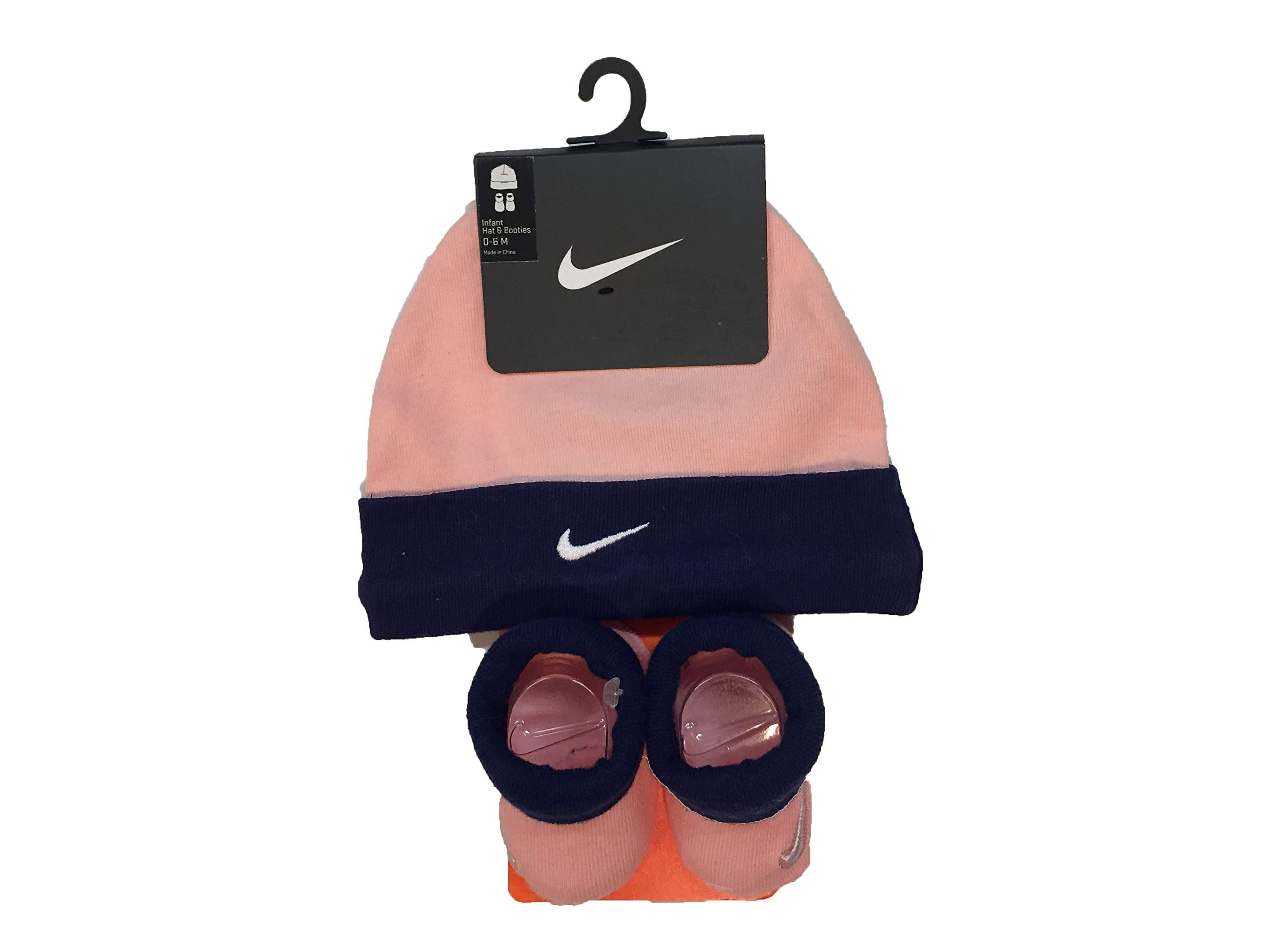 Nike Jordan Infant Baby Hat and Booties Set (Peach(LN0052-A6P)/Navy, 0-6 Months) by Nike